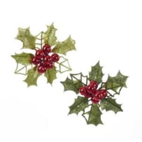 KURT ADLER H7504 GLITTER HOLLY LEAVES WITH BERRY CLIP ORNAMENTS 2 ASSORTED