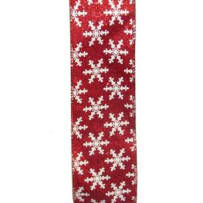 KURT ADLER J8204 RIBBON RED WITH WHITE SNOWFLAKES 10 YARD