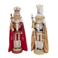 KURT ADLER HA0240 HOLLYWOOD KINGS WITH CAPE NUTCRACKERS GOLD AND RED 18 INCH 2 STYLES