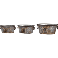 TRANSPAC Y3585 SMALL GALVANIZED METAL BELL CONTAINER