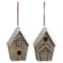 TRANSPAC Y3593 WOOD AND GALVANIZED METAL BIRD HOUSE 2 ASSORTED