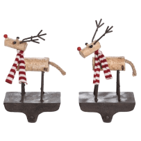 TRANSPAC Y4739 RESIN AND METAL REINDEER STOCKING HOLDER 2 ASSORTED