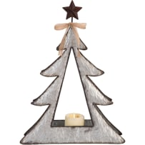 TRANSPAC Y4663 LARGE GALVANIZED METAL TREE WITH STAR 20 INCH