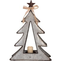 TRANSPAC Y4664 SMALL GALVANIZED METAL TREE WITH STAR 16 INCH