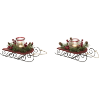TRANSPAC Y3512 WOOD SLEIGH WITH GLASS CANDLE HOLDER 2 ASSORTED