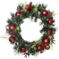 TRANSPAC G6094 RED AND GREEN BALL ORNAMENT WREATH 24 INCH