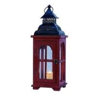 TRANSPAC Y1709 SMALL RED LANTERN WITH METAL ROOF