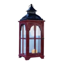 TRANSPAC Y1709 LARGE RED LANTERN WITH METAL ROOF