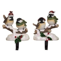 TRANSPAC Y3703 SNOW BIRDS STOCKING HOLDER 2 ASSORTED
