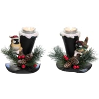 TRANSPAC Y3707 RESIN TOP HAT TEALIGHT HOLDER 2 ASSORTED