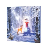 TIMELESS BY DESIGN X47879 LIGHTED MUSICAL MAGIC FOREST SNOWMAN CANVAS