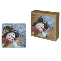 TIMELESS BY DESIGN 80234 SNOWY SNOWMAN COASTERS BOX OF 4