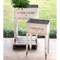 COLONIAL TIN WORKS 530103 FARM FRESH GARDEN STAND WHITE SMALL