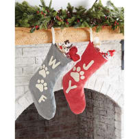 MUD PIE 4683002 WASHED CANVAS PET CHRISTMAS STOCKINGS ASSORTED
