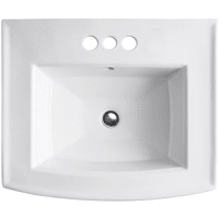 KOHLER K-2358-4-0 ARCHER WHITE PEDESTAL BATHROOM SINK WITH 4 INCH CENTERSET FAUCET HOLES