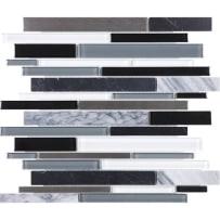 Anatolia Bliss Linear Mosaic Random (12x12) Artic Night Natural Stone/Glass/Metal