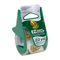 DUCK BRAND 393185 EZ START PACKAGING TAPE WITH DISPENSER CLEAR 1.88 IN X 22.2 YD