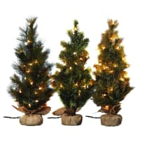 TRANSPAC G1417 24 INCH PINE TREE WITH LIGHTS 3 ASSORTED