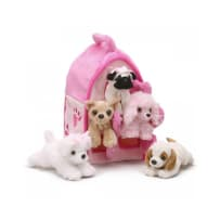 UNIPAK DESIGNS 7166PD PLUSH PINK DOG HOUSE WITH DOGS