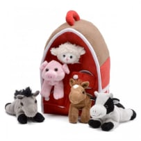 UNIPAK DESIGNS 7166HO-F PLUSH RED BARN WITH FARM ANIMALS