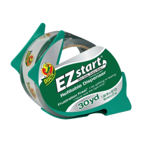 DUCK BRAND 393192 EZ START PACKAGING TAPE WITH DISPENSER CLEAR 1.88 IN X 30 YD