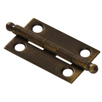 "HILLMAN 852399 1-1/2 X 1-1/4"" SOLID BRASS BALL TIPPED HINGE - ANTIQUE BRASS FINISH"