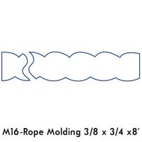 """3/8""""X 3/4""""X8'POPLAR ROPE MOLD"""