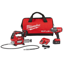 MILWAUKEE 2767-22GG M18 FUEL 18VOLT LITHIUM-ION BRUSHLESS CORDLESS 1/2 INCH IMPACT WRENCH WITH FRICTION RING KIT WITH M18 GREASE GUN