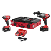 MILWAUKEE 2897-22PO M18 FUEL 18VOLT LITHIUM-ION BRUSHLESS CORDLESS HAMMER DRILL/IMPACT DRIVER COMBO KIT WITH PACKOUT CASE