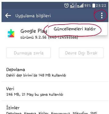 Google Play güncellemeleri kaldır
