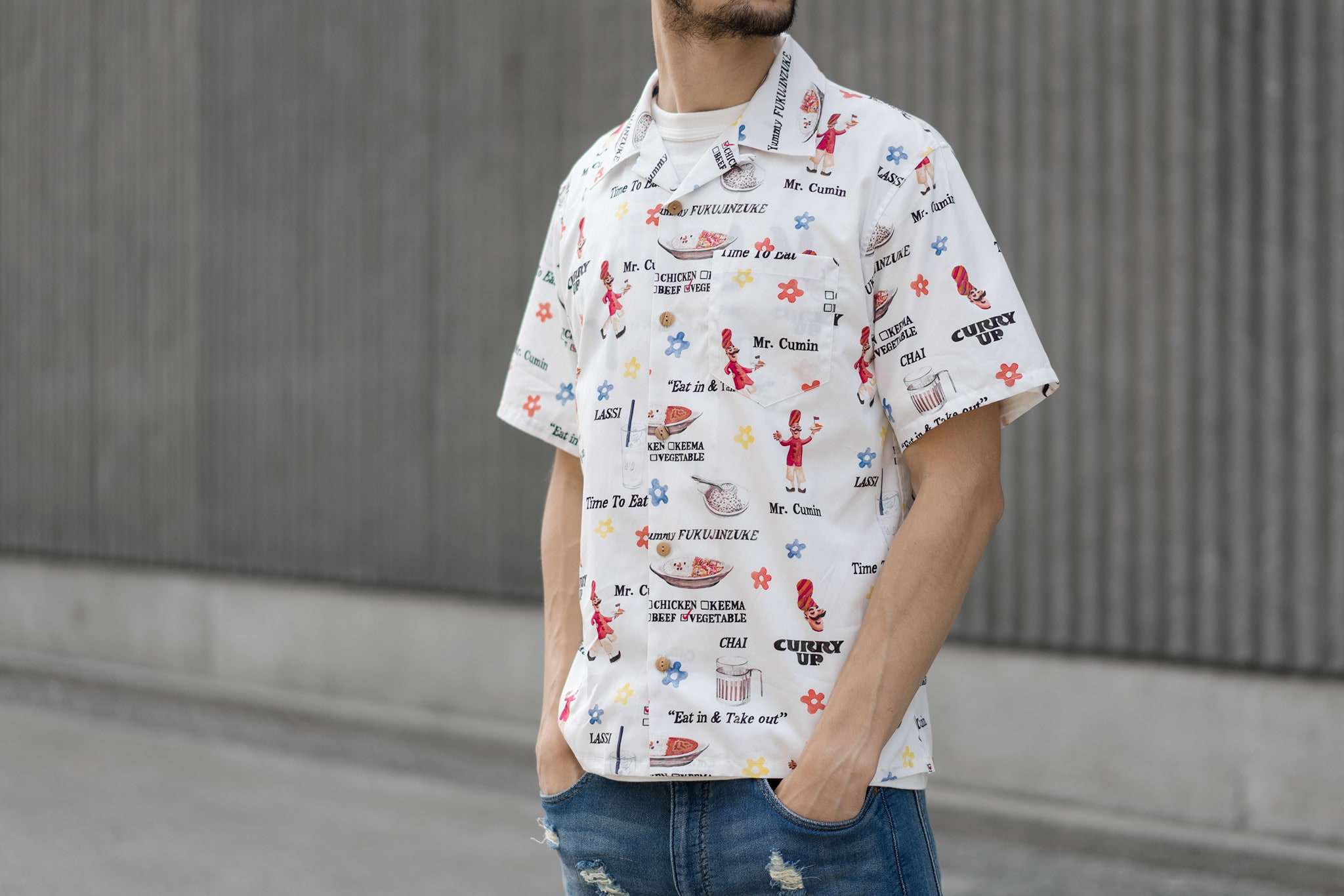 HAVEN Lookbook, Human Made Curry Up Aloha Shirt White