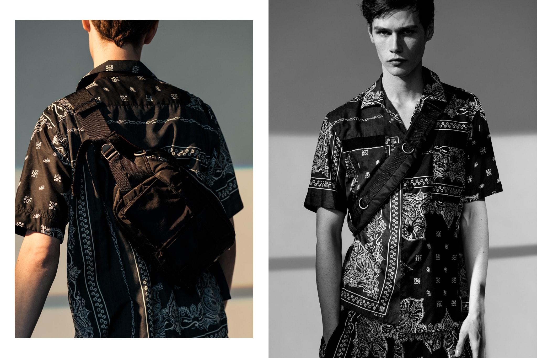 HAVEN sacai Spring Summer 2019 Editorial Bandana Print Shorts Black Bandana Print Shirt Black Porter Bag