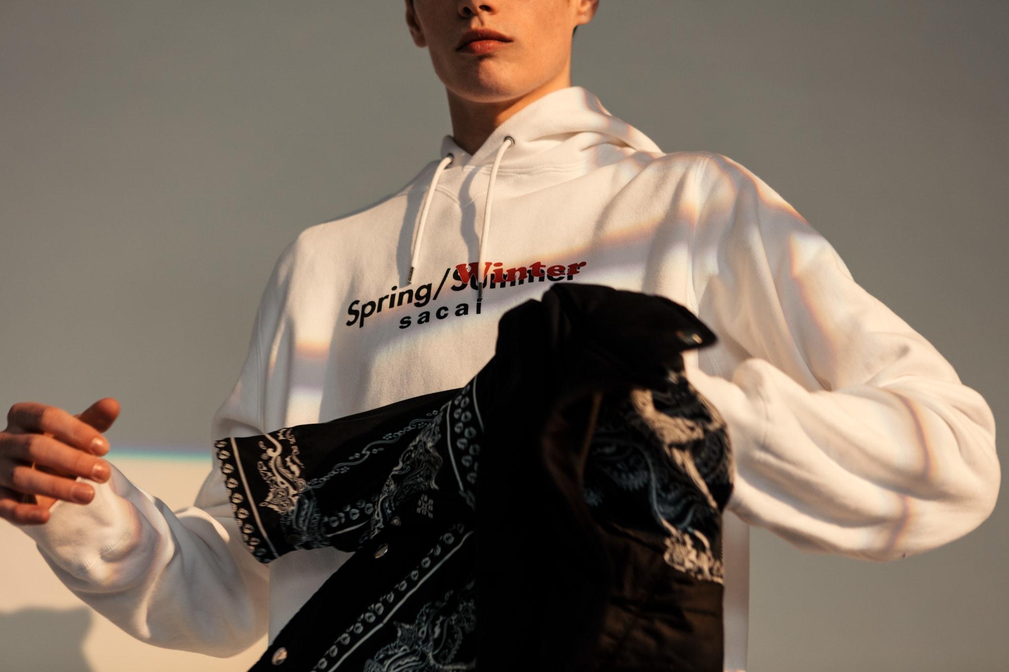 HAVEN sacai Spring Summer 2019 Editorial Sweat Printed Hoodie White Bandana Print Jacket Black
