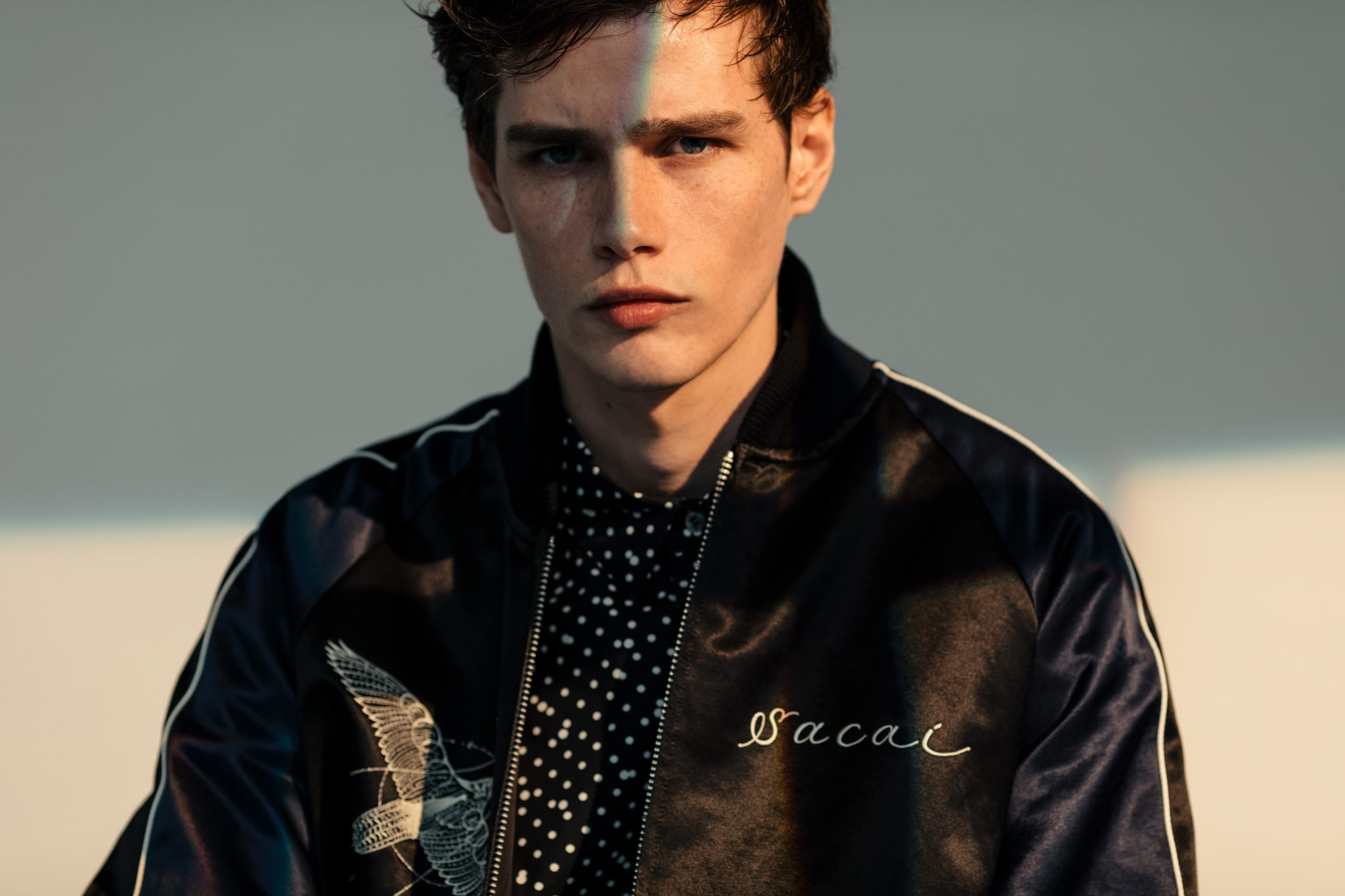 HAVEN sacai Spring Summer 2019 Editorial Dr. Woo Stadium Jacket Black Navy Dr. Woo Polka Dot Print Shirt