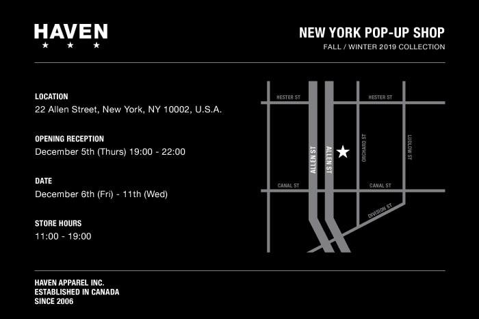 HAVEN FW19 NEW YORK POP UP SHOP