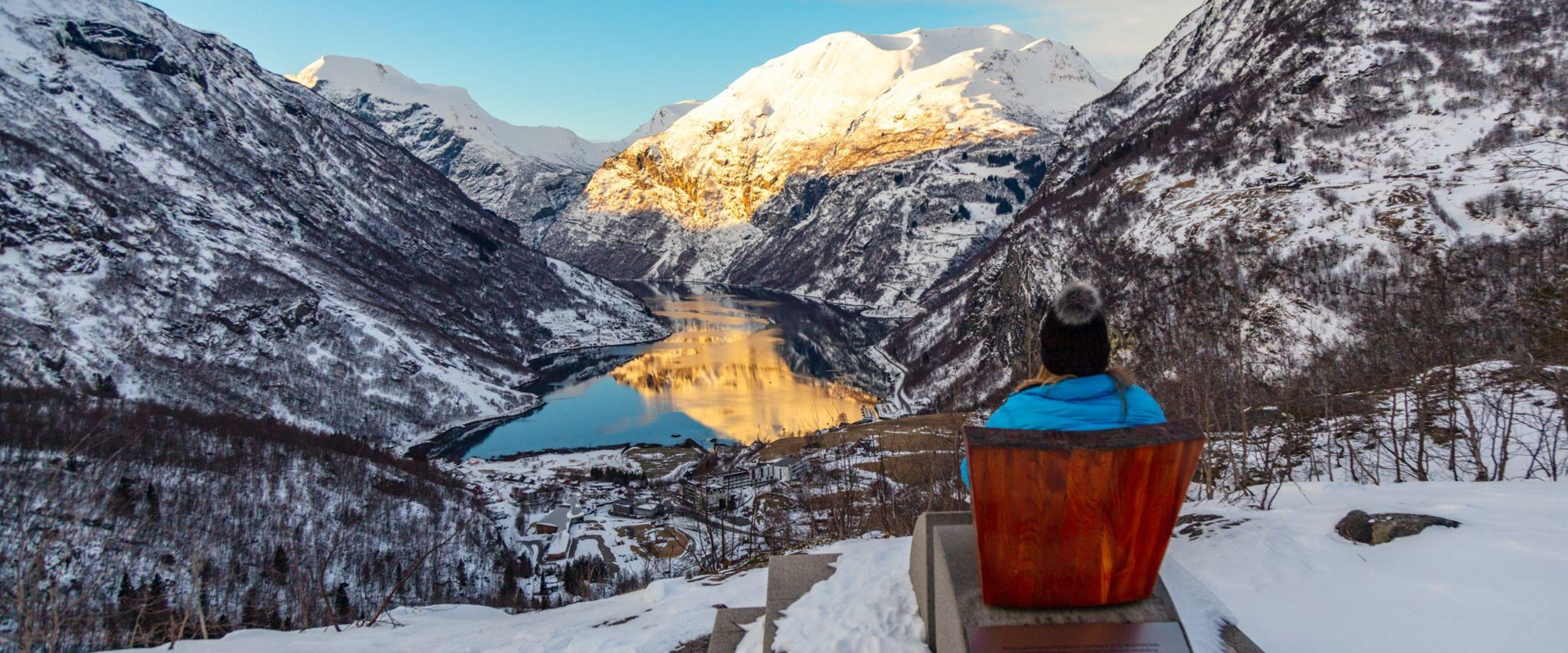 Beautiful view to Geirangerfjorden in the winter. Photo:Rune Hagen/Stiftinga Geirangerfjorden verdsarv