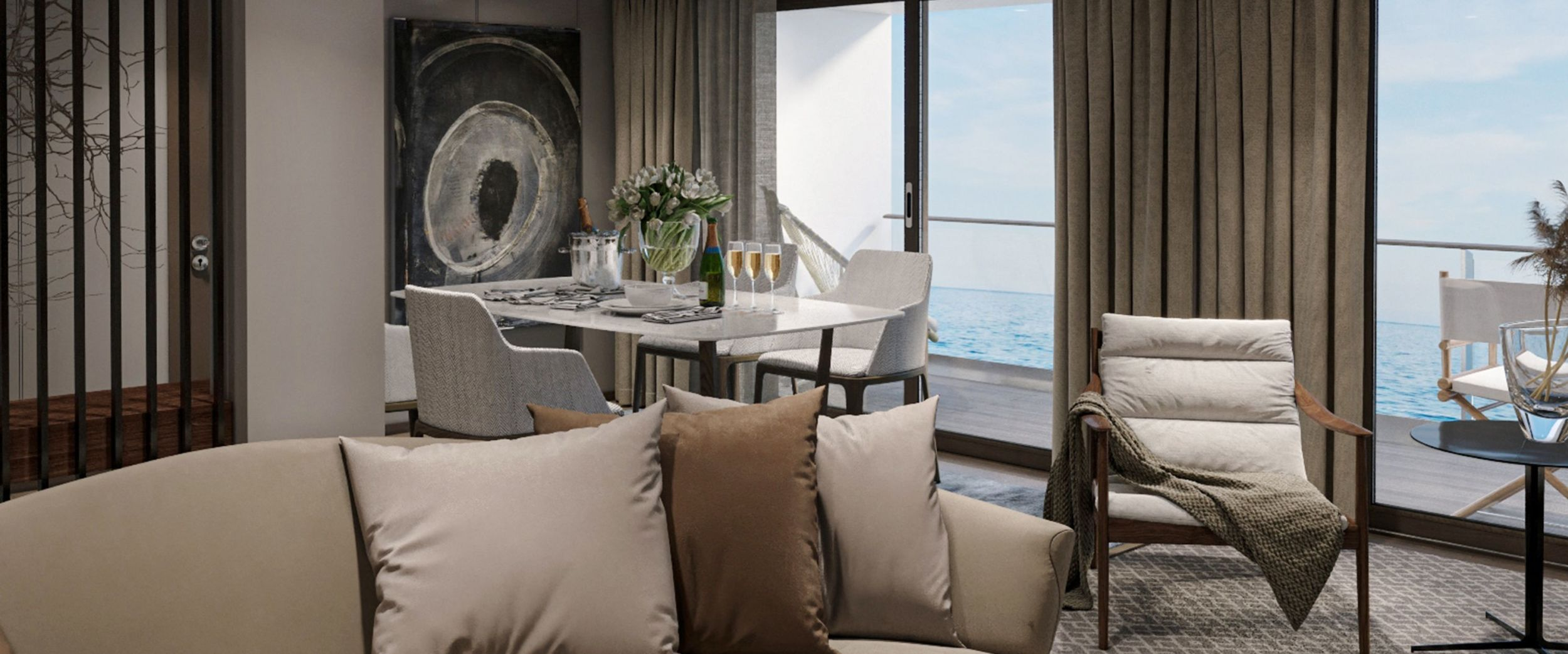 Presidential suite lounge area. Copyright Havila Voyages