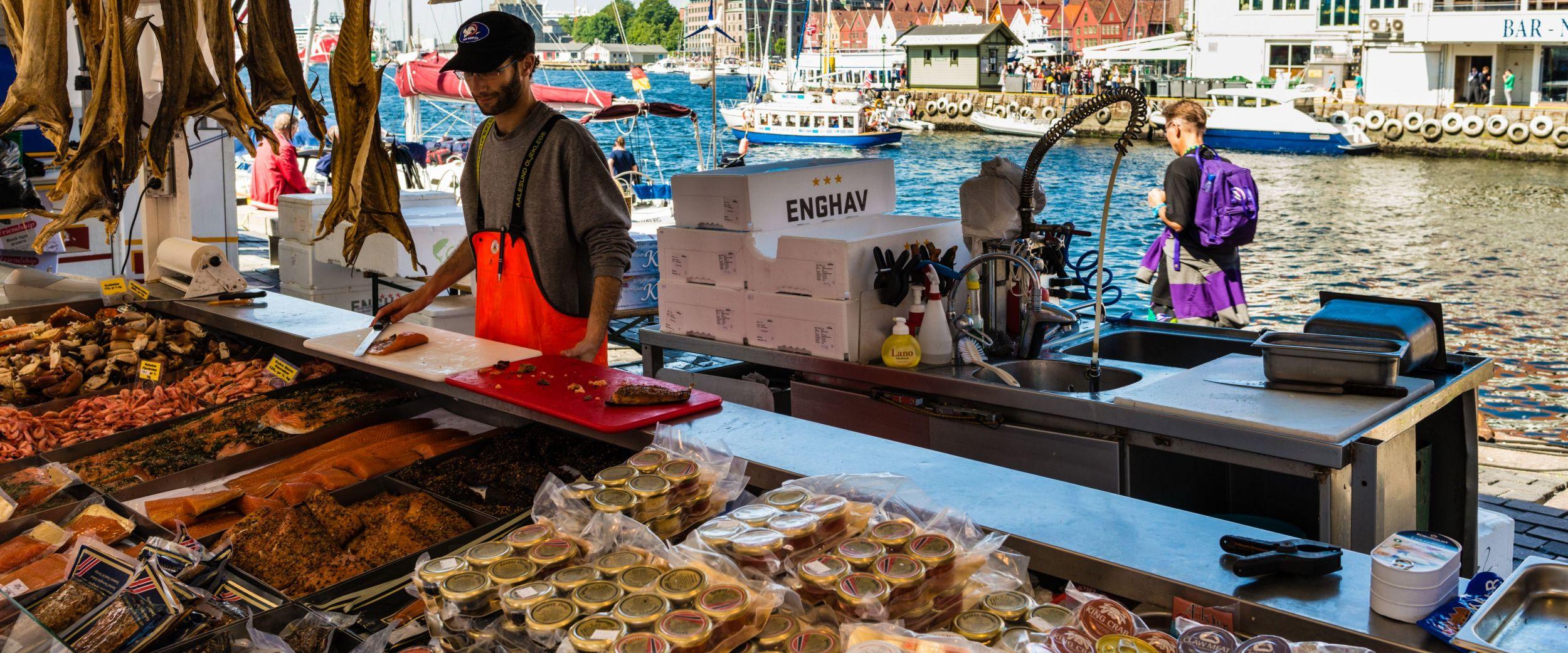Fishmarket. Fisketorget i Bergen