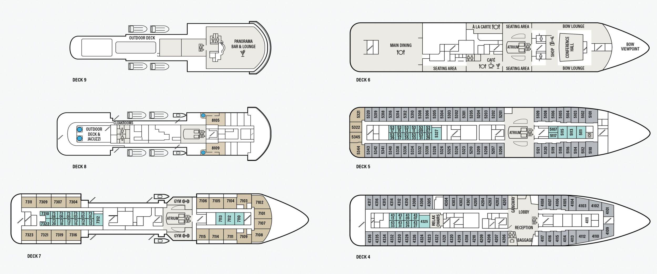 Deck overview Havila Voyages