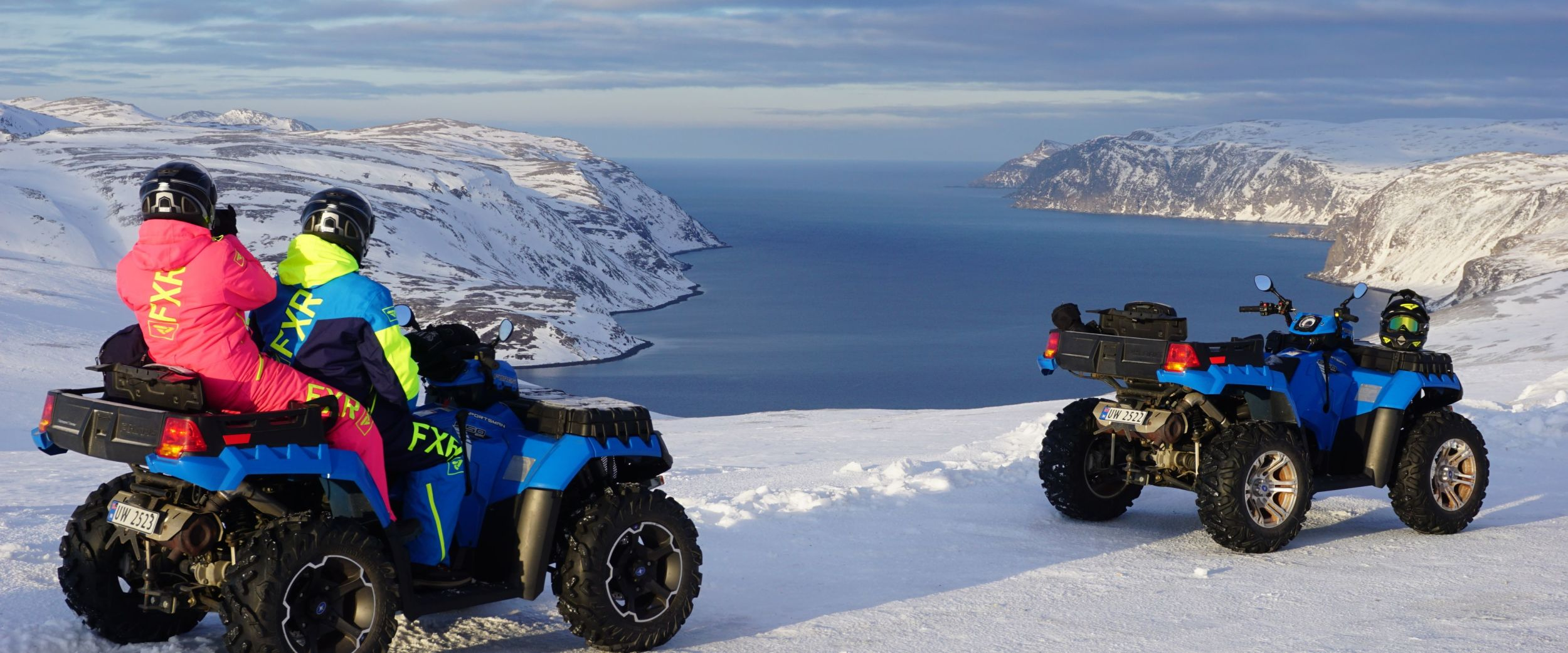 Quadbiking with fjordview at the Northcape in the winter.