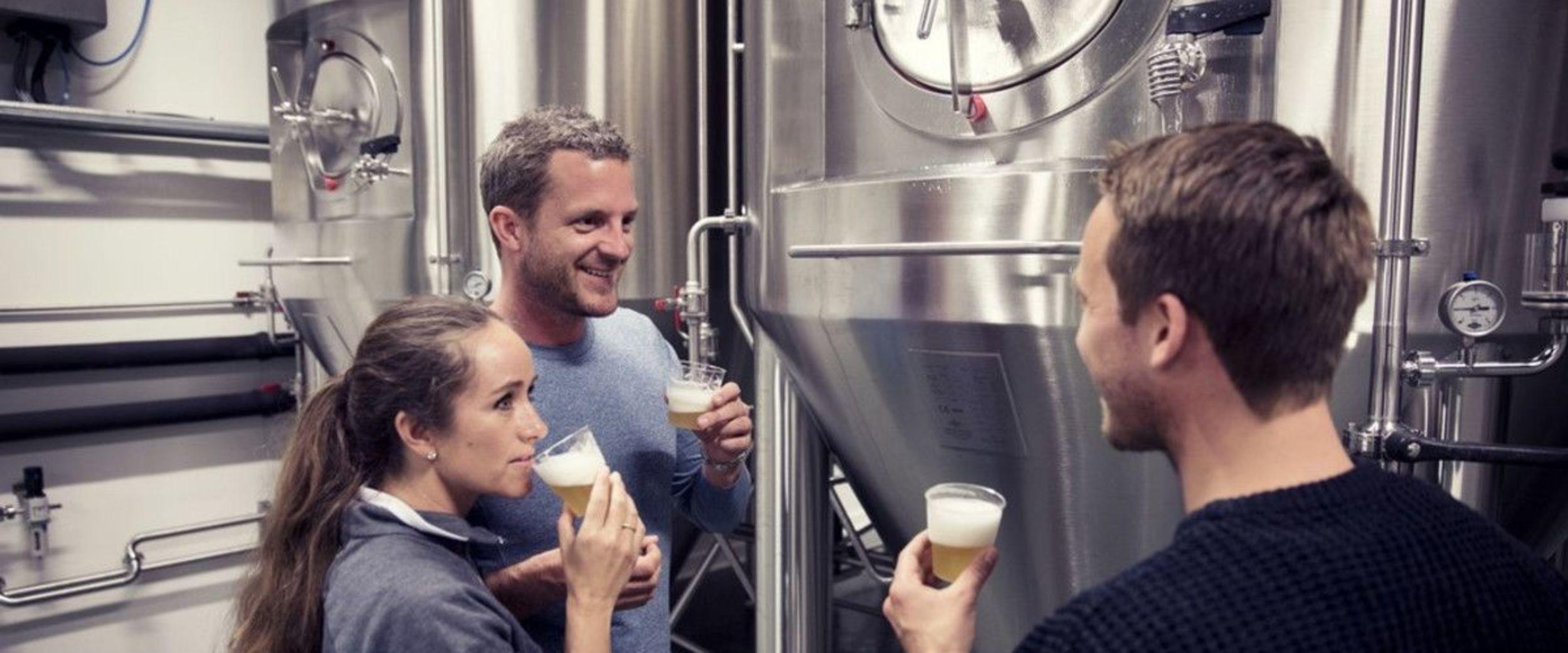 Tasting beer at Lofoten Brewery.