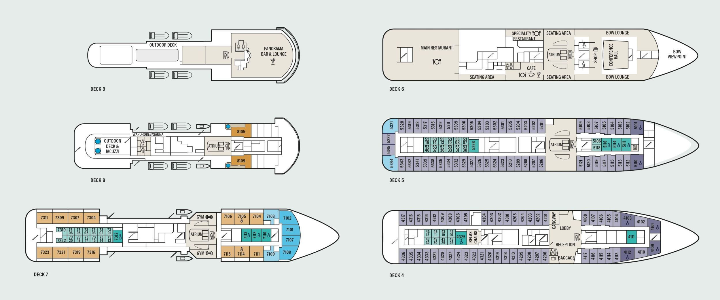 Deck overview of the Havila ships.