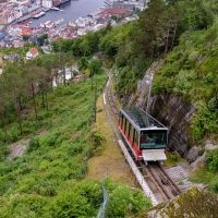 Tram going up the hills of Bergen.