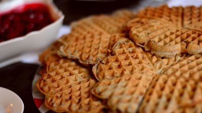 Waffles with jam.