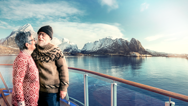 Illustration of couple on deck of the ship in Lofoten