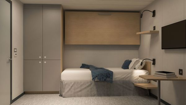 Interior cabin for two persons. One single bed and one pullman bed.