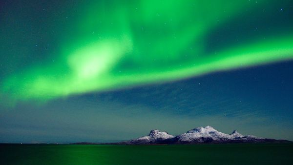 Northern light over island outside Bodø.