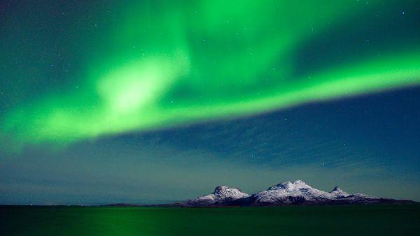 Northern light over island outside Bodø.