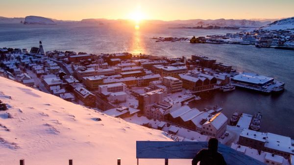 Hammerfest in sunset on a winter day