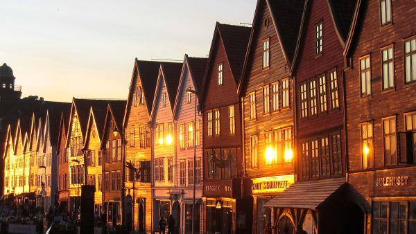Buildings on Bergen Brygge in sunset